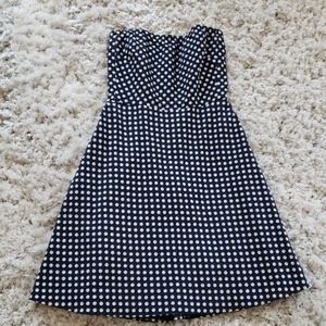 J Crew Navy Blue Polka Dot Sleeveless Dress